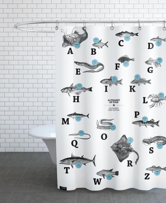 Alphabet Of Fish Animal ABC Shower Curtain