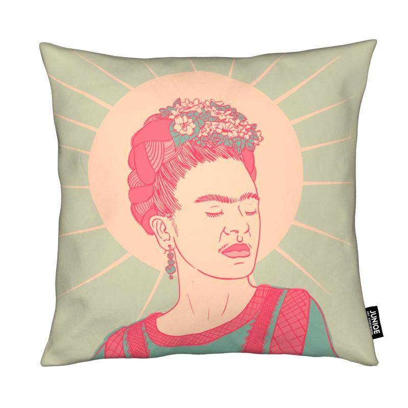 frida als kissen von linda van bruggen juniqe. Black Bedroom Furniture Sets. Home Design Ideas