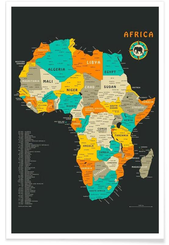 Africa Colourful Map Poster | JUNIQE UK