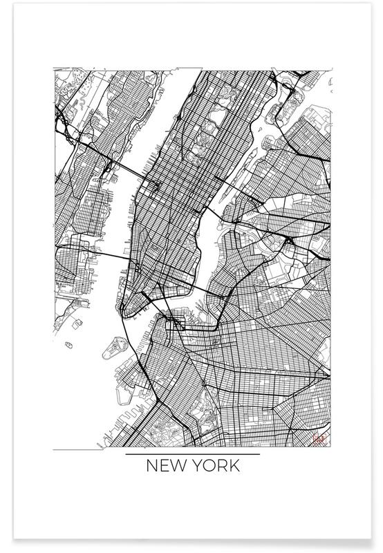 Map Of New York Poster.New York Minimal Map Poster Juniqe