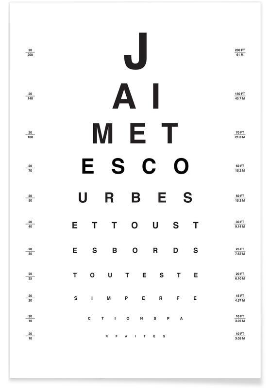 Eye Chart Je Taime Póster
