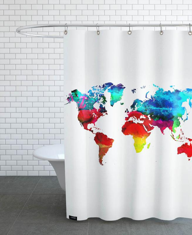 World Map As Shower Curtain By Naxart