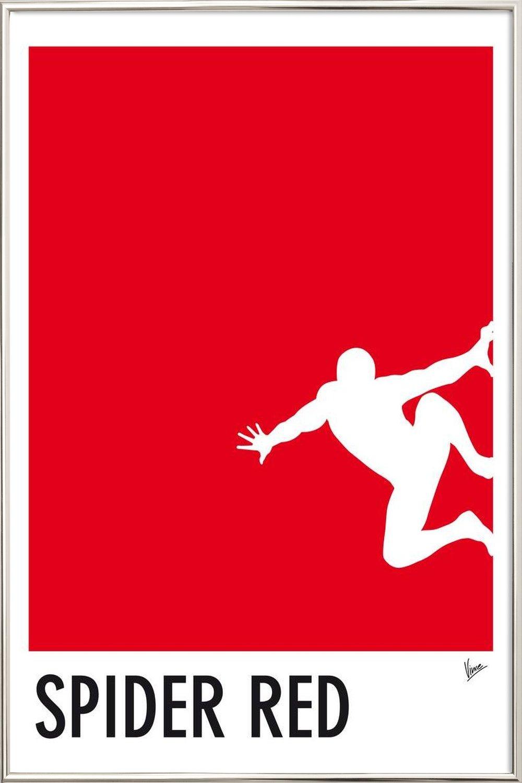 My Superhero 04 Spider Red Minimal Poster als Poster im Holzrahmen ...