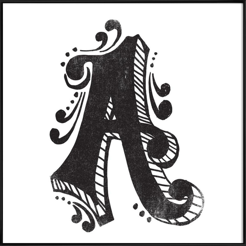 Graphic design art black and white  A als Poster im Holzrahmen von Matthew Taylor Wilson | JUNIQE