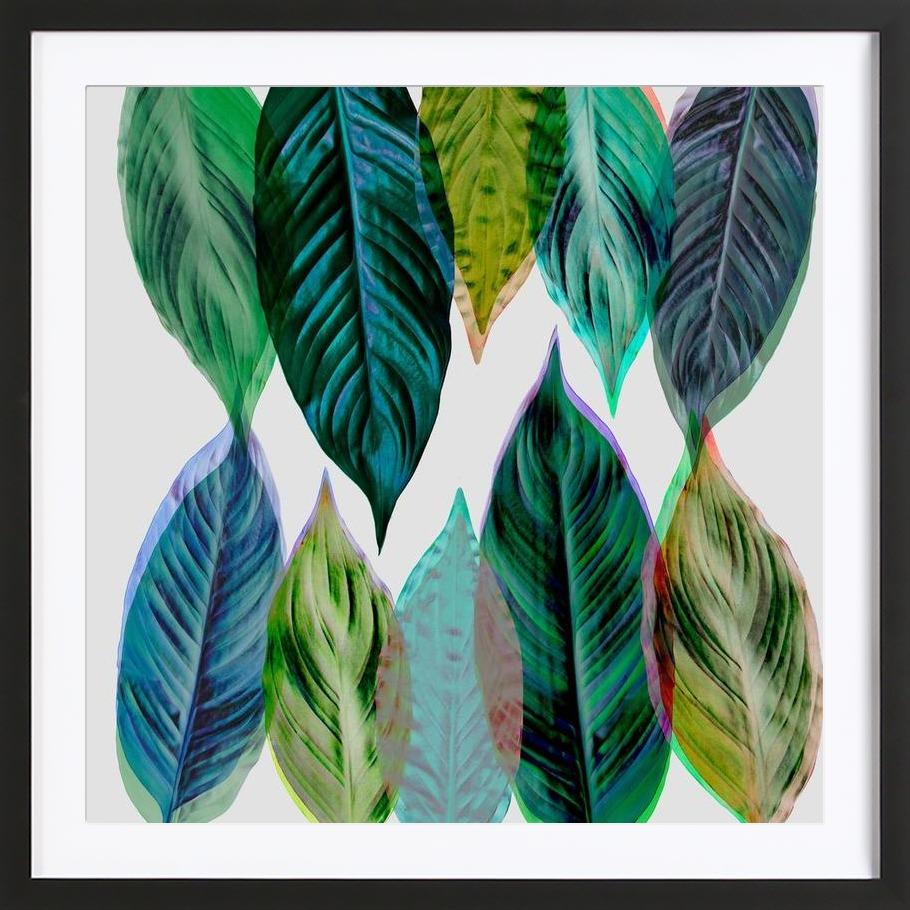Green Leaves - Framed Premium Poster 1x1