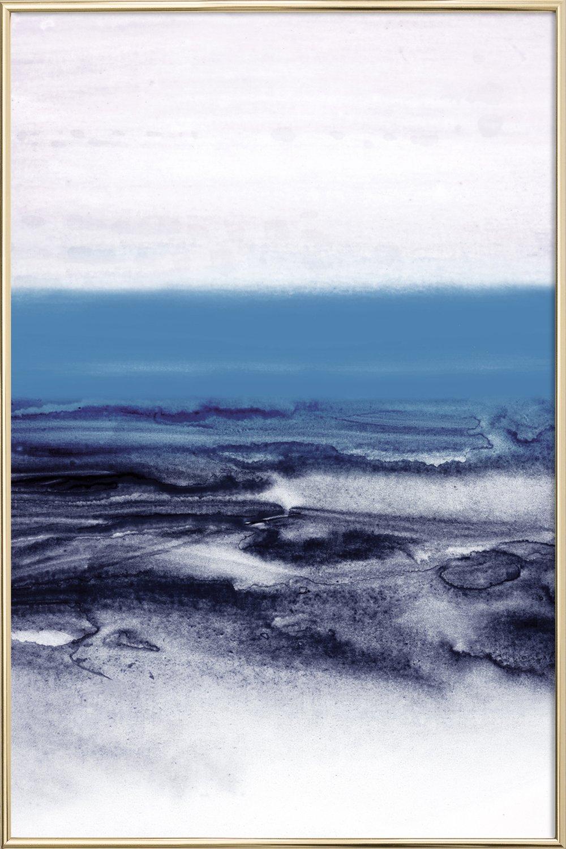 Watercolor landscape blue as poster in standard frame juniqe uk jeuxipadfo Images