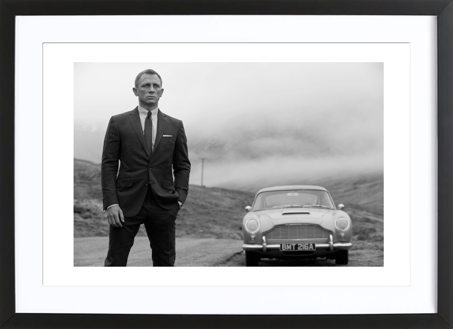 Daniel Craig as James Bond as Poster in Wooden Frame | JUNIQE