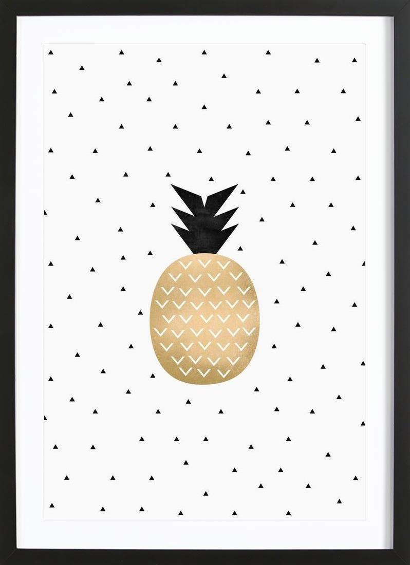 Golden Pineapple - Framed Premium Poster Portrait