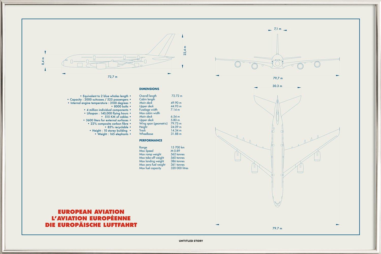 Technical Drawing A380 Als Poster Im Alurahmen Juniqe Ch 3100 Engine Diagram