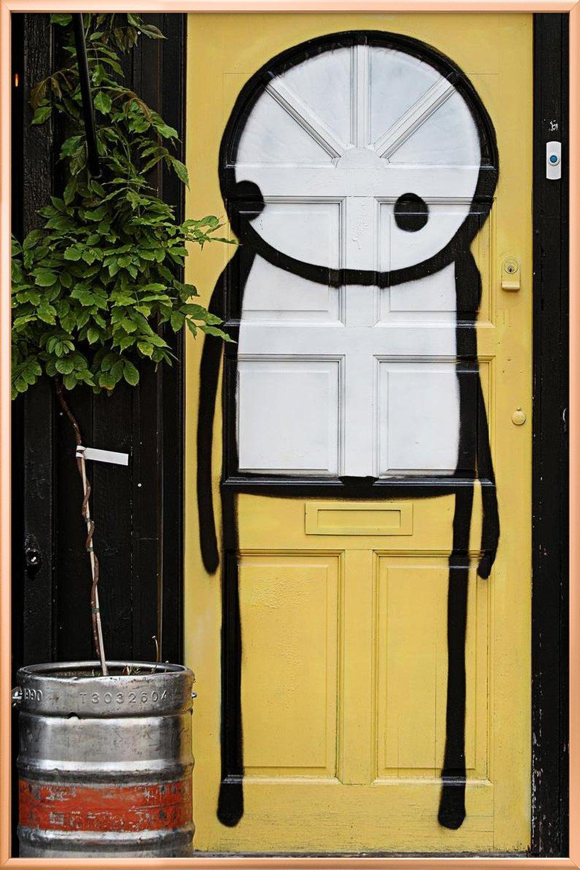Streetart Gelb 2 as Poster in Aluminium Frame by Sadia | JUNIQE