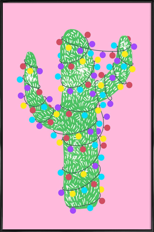 Festive cacti lights out pink als poster im alurahmen juniqe
