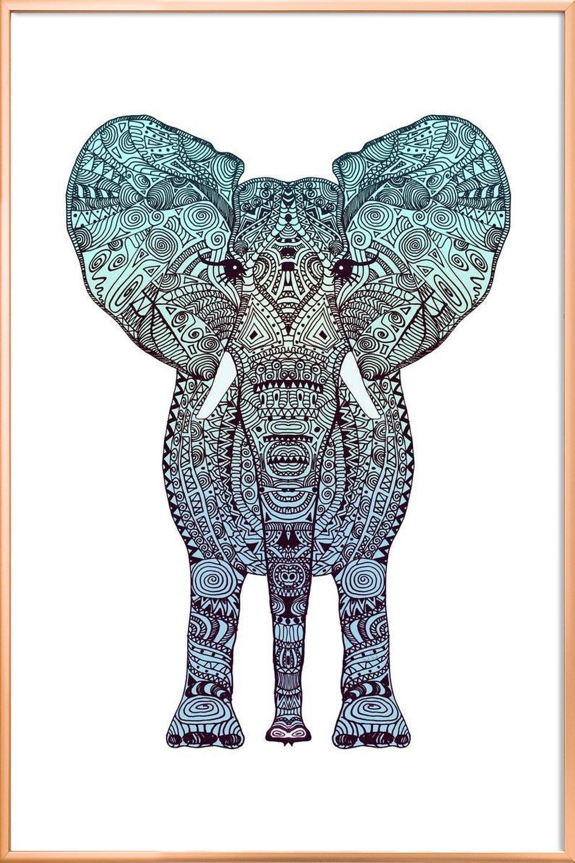 Mint Elephant als Leinwandbild von Monika Strigel | JUNIQE