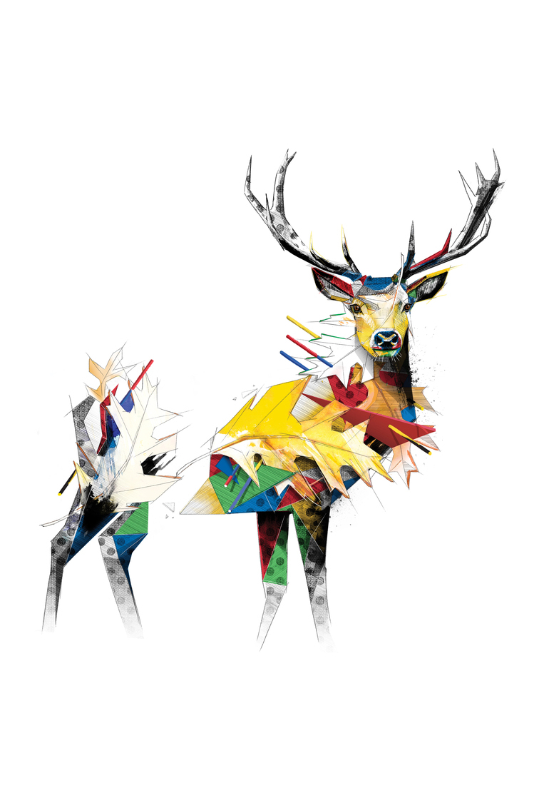 Deer als Poster im Holzrahmen von Birgit Palma | JUNIQE