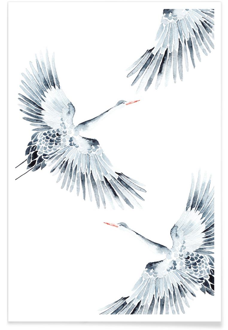 Cranes as Premium Poster by Annet Weelink Design   JUNIQE