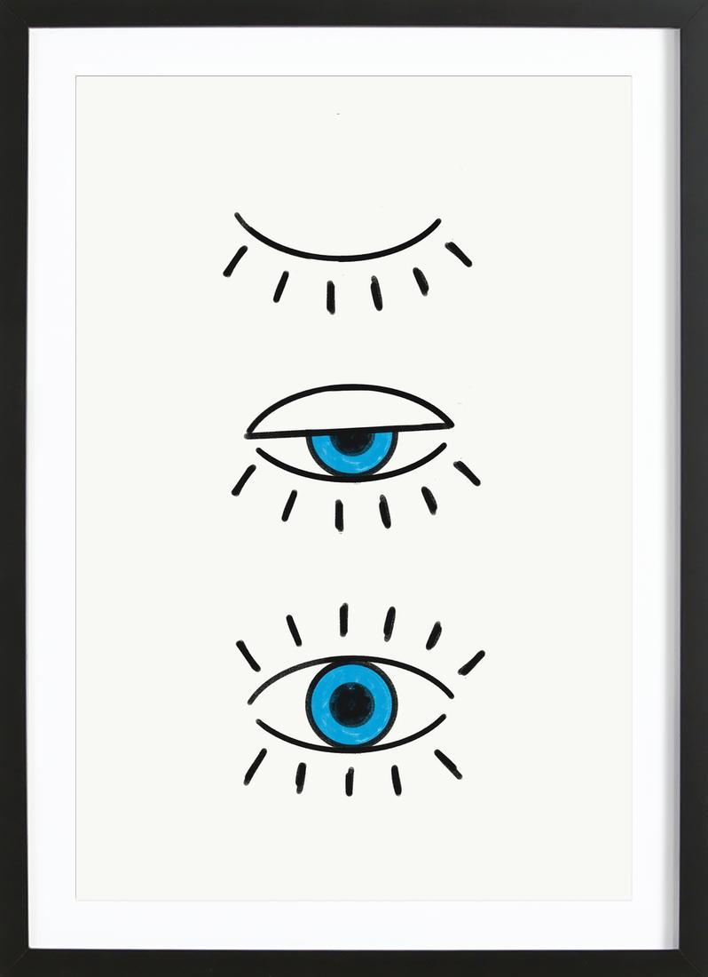 Summer Evil Eye als Poster im Holzrahmen von cafelab | JUNIQE