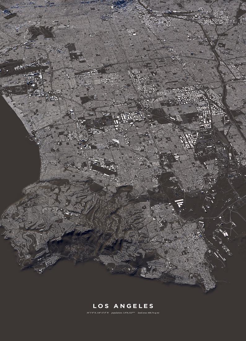 Los Angeles als Leinwandbild von Maptastix | JUNIQE