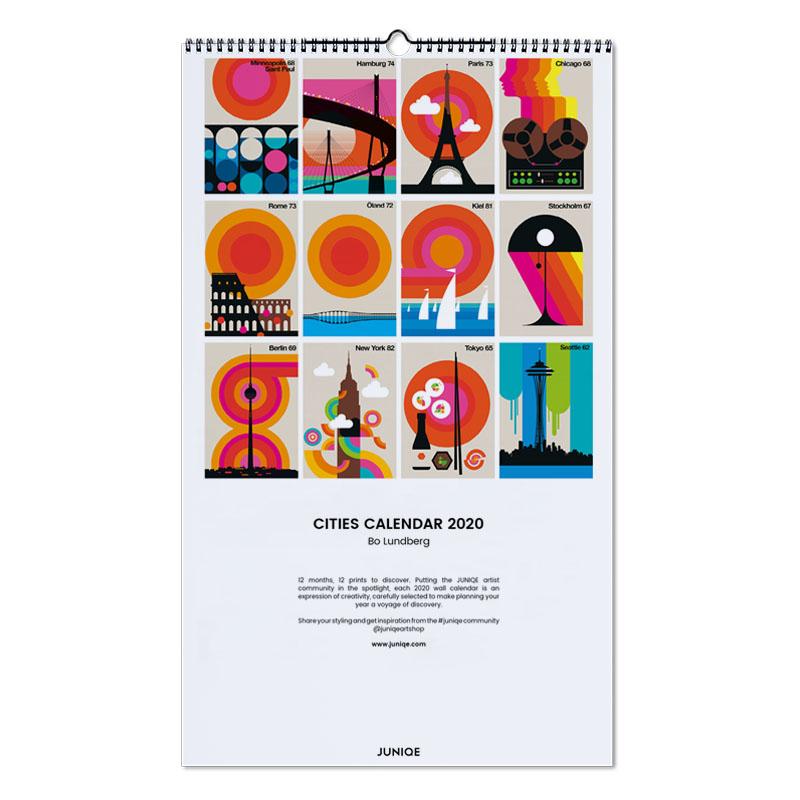 Poster Calendario 2020.Cities Calendar 2020 Bo Lundberg Wall Calendar Juniqe