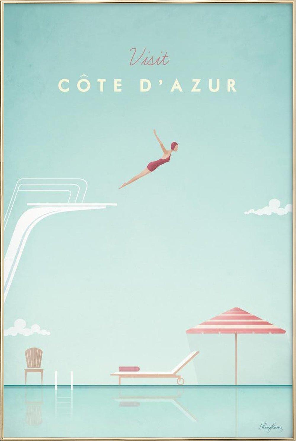 Côte d\'Azur als Premium Poster von Henry Rivers   JUNIQE