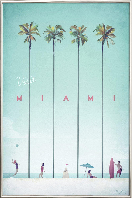 Miami als Poster im Kunststoffrahmen von Henry Rivers | JUNIQE