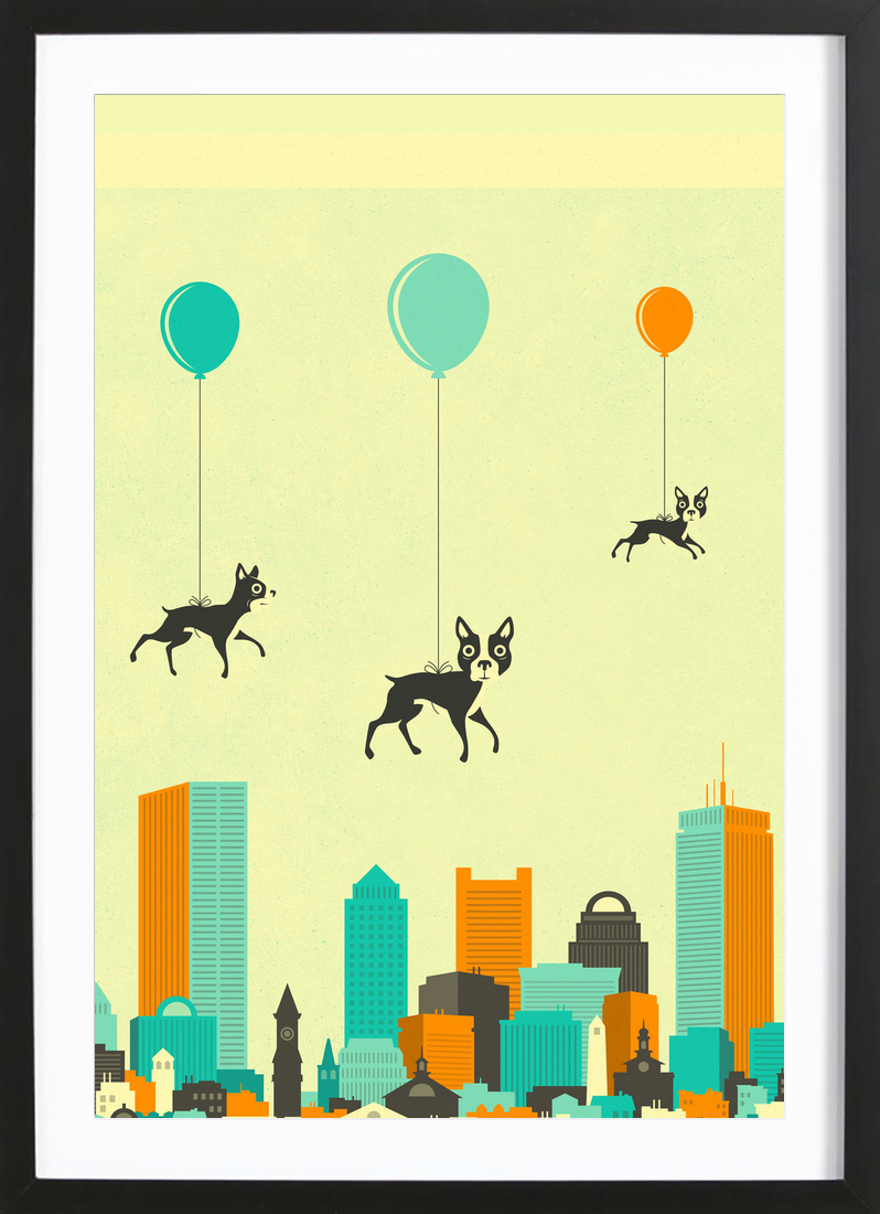 Flock of Boston Terriers as Poster in Wooden Frame | JUNIQE
