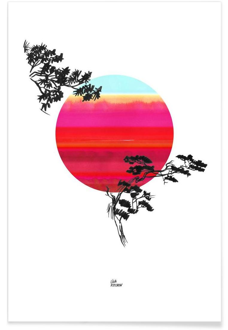 Japanese Sun as Poster in Aluminium Frame by Liga Kitchen | JUNIQE UK