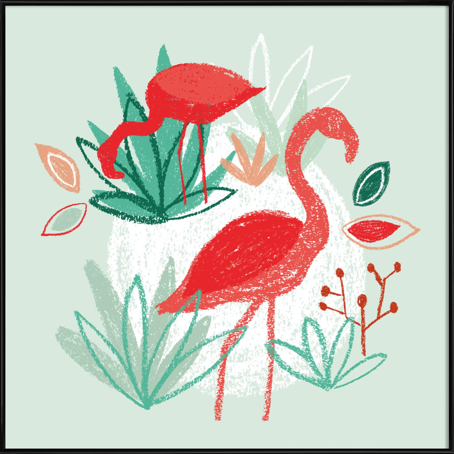 The Two Flamingos as Poster in Standard Frame by BlauMaschine