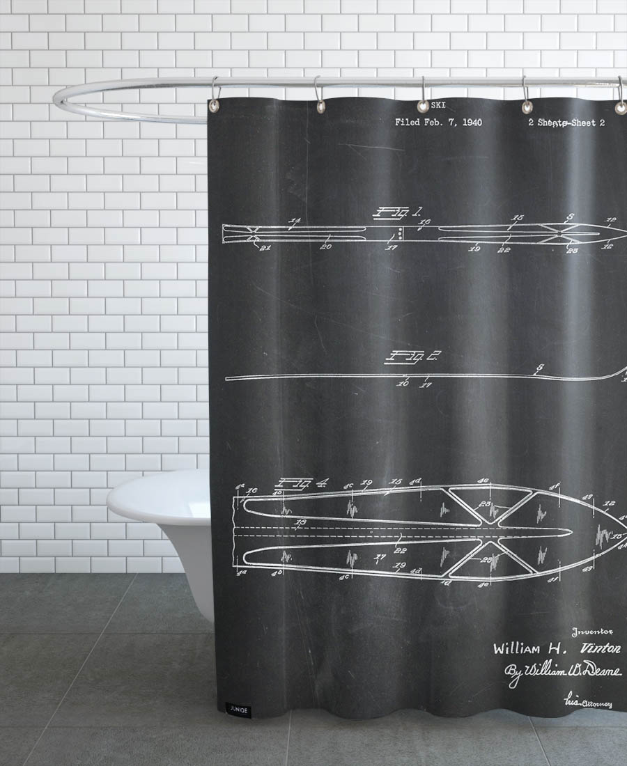 Skis As Shower Curtain By Stanley Print House