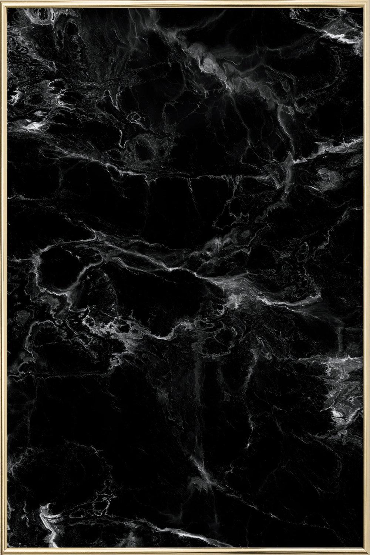 Schwarzer Marmor als Poster im Alurahmen von Amy & Kurt | JUNIQE