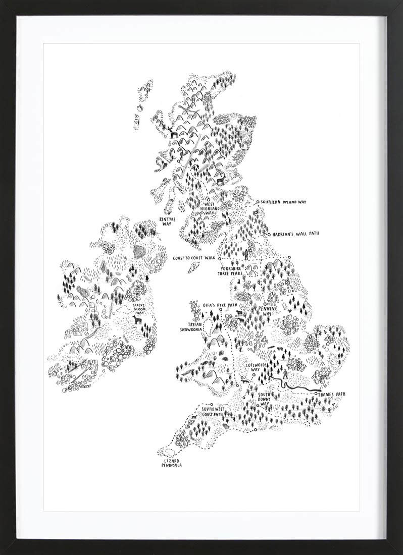 Uk ireland walking poster in wooden frame