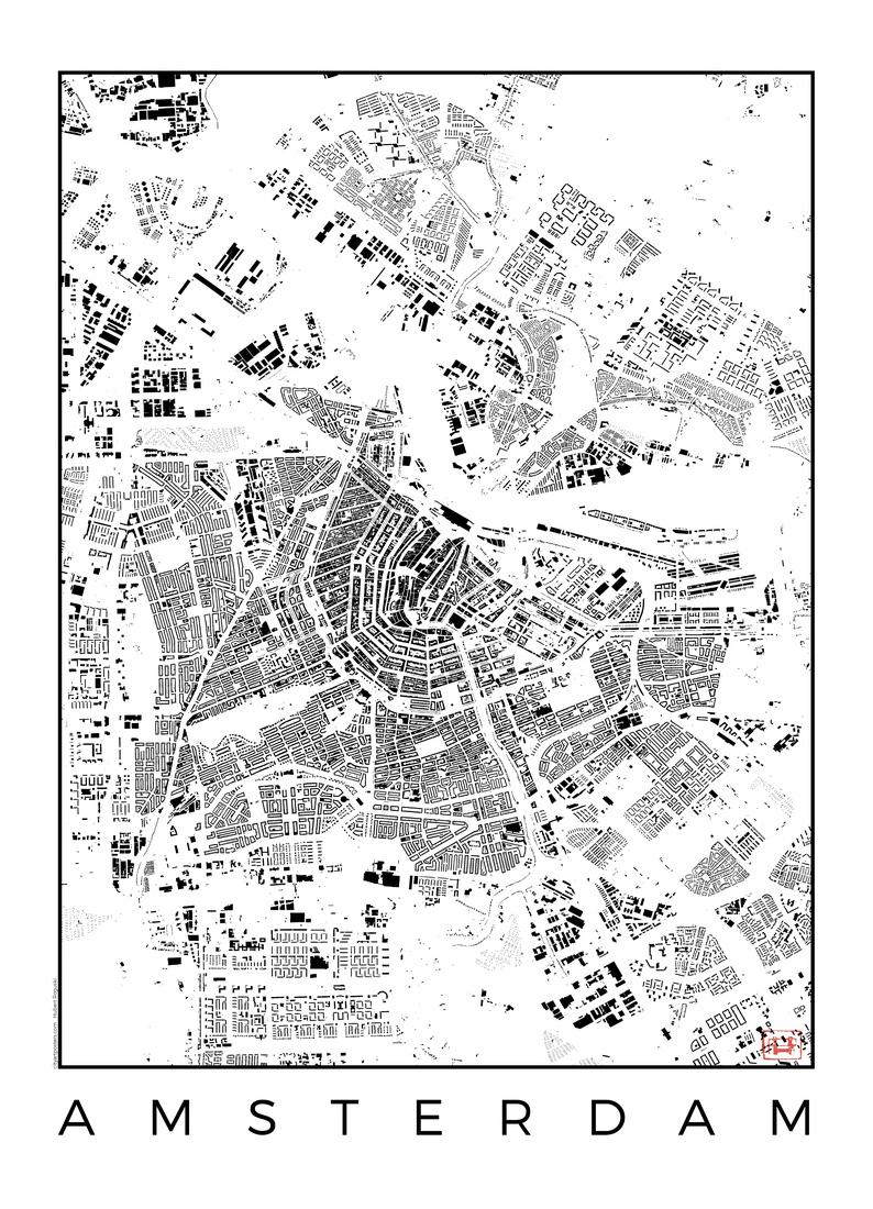 Amsterdam Map Schwarzplan als Poster im Kunststoffrahmen | JUNIQE