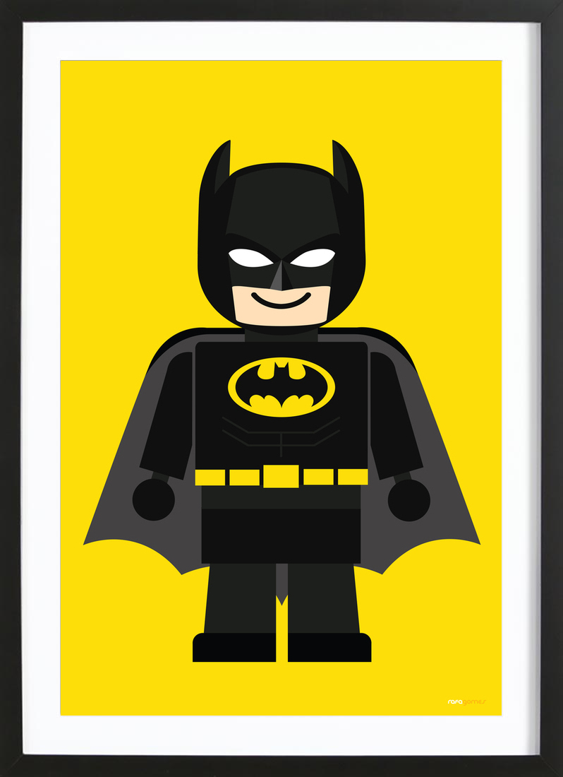 Batman Toy als Poster im Holzrahmen von Rafa Gomes | JUNIQE