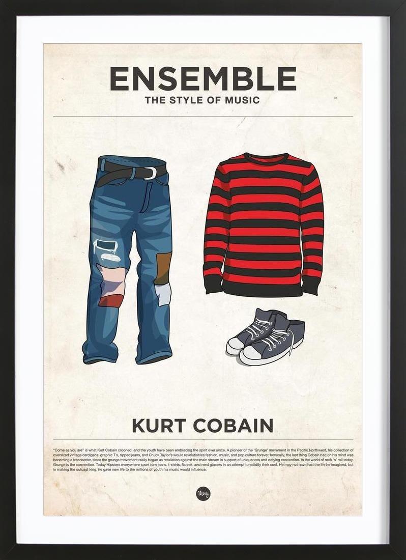 Ensemble Kurt Cobain als Poster im Holzrahmen   JUNIQE