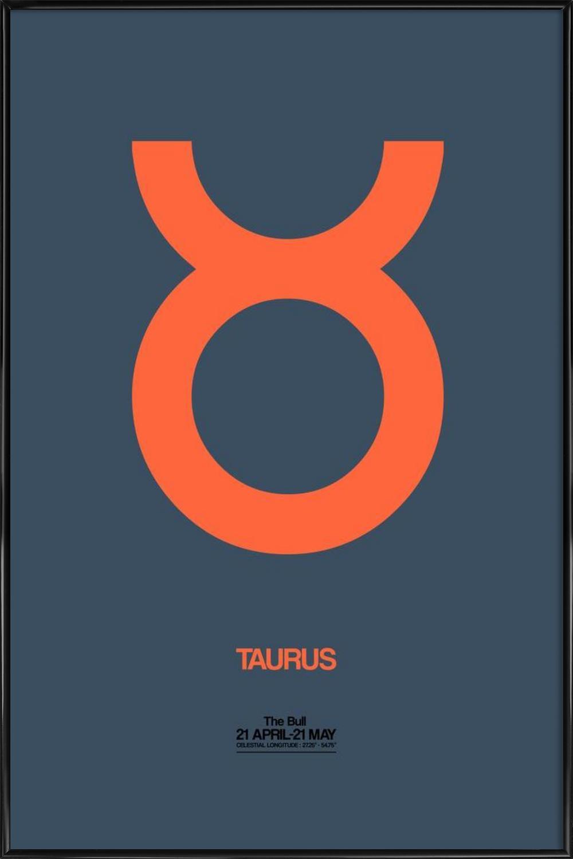 Taurus Zodiac Sign Orange als Poster im Kunststoffrahmen | JUNIQE