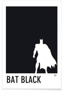 My Superhero 02 Bat Black Minimal Poster
