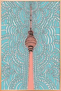Fernsehturm Drawing Meditation (blue)