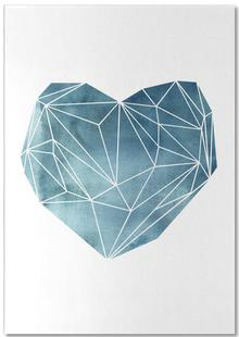 Heart Graphic Watercolor Blue