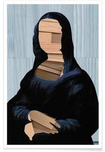 Mona Lisa – blue shining WoodCut Collage