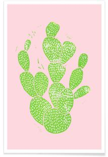 Linocut Cacti Minty Pink