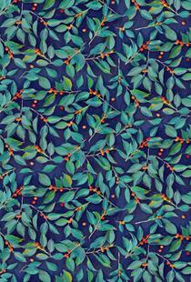 Leaves & Berries on Blue