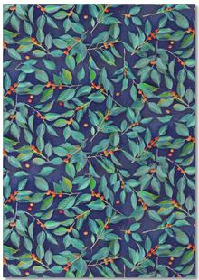 Leaves & Berries on Blue