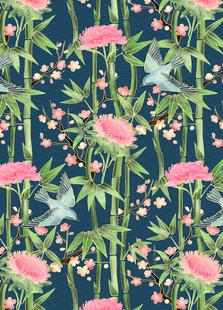 Bamboo Birds and Blossom Teal