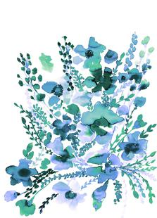 Amelia Floral Blue Green