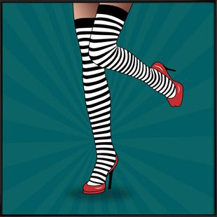 Feet with striped tights 2