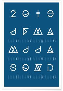 2019 Geometrical Calendar Indigo