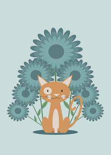 Cat In The Flowerfield