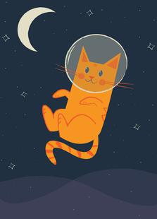 Floating Space Cat