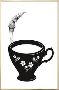 Kopfsprung in Teetasse