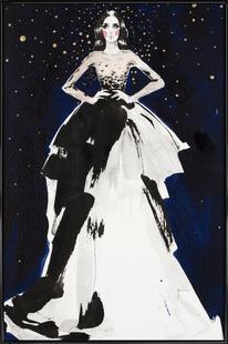 Fashion illustration dark sky