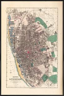 Liverpool, England, Bacon Pocket Map Of