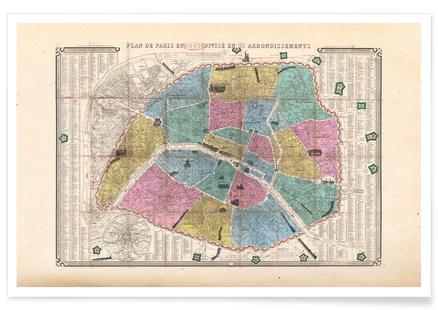 Paris, Henriot Pocket Map Of Paris France,